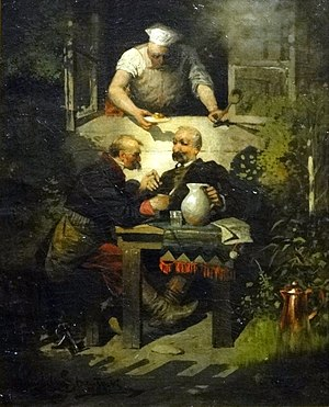 Mead in Poland - Early-19th-century Polish noblemen enjoying mead in a painting inspired by Pan Tadeusz. Painted by Wandalin Strzałecki in 1884.