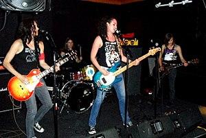 The Wanton Looks - Original lineup.  Left to right: Susie Q. Winn, Meg Thomas, Traci Trouble, Inga Olson