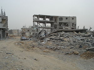 Gaza–Israel conflict - Destroyed buildings in Gaza City, January 2009