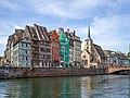 Waterfront on Ill canal and Saint Nicholas church Strasbourg.jpg