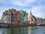 Waterfront on Ill canal and Saint Nicholas church Strasbourg.jpg