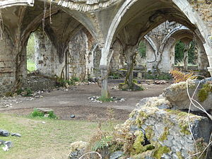 The Huntsman: Winter's War - The refectory at Waverley Abbey with fake vines and rubble added for use as a film set for The Huntsman: Winter's War.