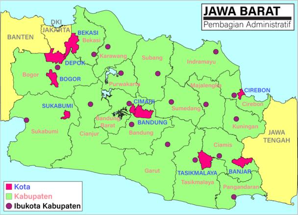 daftar kabupaten dan kota di jawa barat wikipedia bahasa