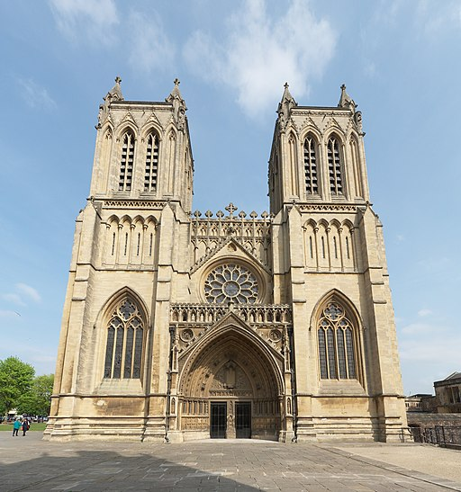 West front of Bristol Cathedral tilted up view
