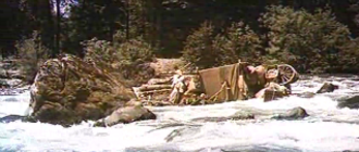 How the West Was Won (film) - The settlers' raft is caught in rapids.