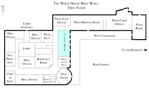 White House West Wing - 1st Floor with Cabinet Room highlighted