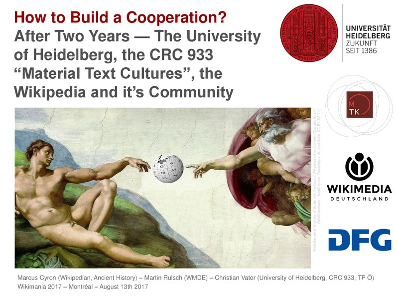 File:Wikimania2017 How to Build a Cooperation WMDE WikiProject Ancient History CRC933 University of Heidelberg.pdf