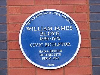 William Bloye - Blue plaque at Golden Hillock Road.