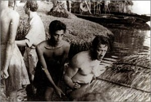 The Bridge on the River Kwai - Chandran Rutnam and William Holden while shooting The Bridge on the River Kwai.
