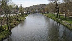 Livingston Manor, New York - Willowemoc Creek as it enters Livingston Manor