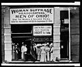 Woman suffrage headquarters in Upper Euclid Avenue, Cleveland-A. (at extreme right) is Miss Belle Sherwin, President, National League of Women Voters; B. is Judge Florence E. Allen (holding LCCN97500065.jpg