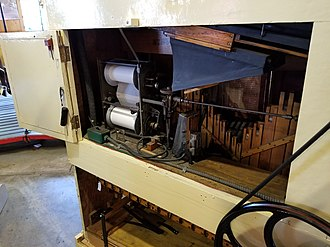 Fairground organ - The roll-playing mechanism on the Wurlitzer 146 band organ at the Herschell Carrousel Factory Museum in North Tonawanda, NY. 150 Scale.