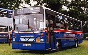 Wright Handybus - West Midlands Travel Handybus bodied Dennis Dart in 1995 with flat driver's windscreen