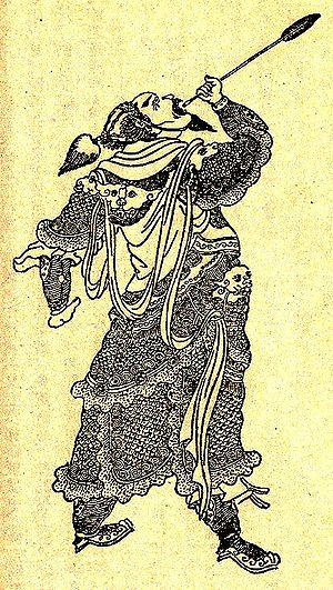 Xiahou Dun - A Qing dynasty illustration of Xiahou Dun swallowing his eyeball