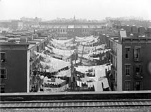 Photograph of two rows of tenement buildings with laundry lines hung between them; the lines are crowded with sheets and other laundry.  The view is from the roof of another building.