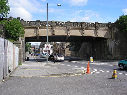 The Culvert aqueduct over Yorkshire Street in 2007 Yorkshire Street, Burnley, Lancashire - geograph.org.uk - 545703.jpg