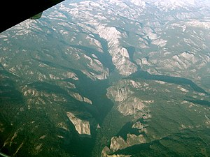 Glacial landform - Yosemite Valley from an airplane, showing the U-shape