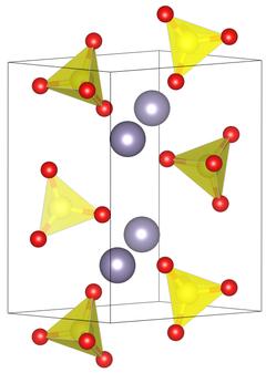 Elementarzelle von Zinn(II)-sulfat.