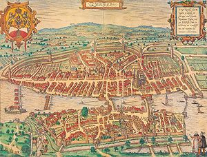 Georg Braun - A 1581 bird's-eye etching of Zürich, published by Georg Braun and Frans Hogenberg.