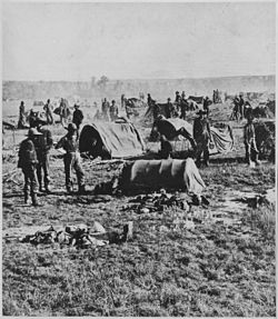 """Gen. Crook's headquarters in the field at Whitewood (Dak. Terr.). On starvation march 1876."" Closeup of a camp scene sh - NARA - 533170.jpg"