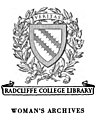 """RADCLIFFE COLLEGE LIBRARY"" ""WOMEN'S ARCHIVES"" ""VERITAS"" BOOKPLATE, from- Olympia Brown - Acquaintances, Old and New, Among Reformers (page 1 crop).jpg"