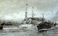 'A Torpedoed cruiser escorted to port'- HMS 'Dublin' in the Adriatic, June 1915 RMG PW2080.jpg