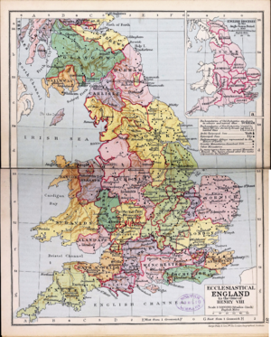Diocese of Lichfield - A map of the English dioceses during the reign of Henry VIII, from Phillips' new historical atlas (1920)