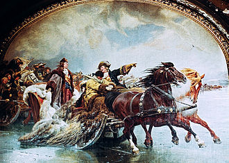 Brandenburg-Prussia - Great Sleigh Drive (1678):Frederick William pursues Swedish troops across the frozen Curonian Lagoon; fresco by Wilhelm Simmler, ca. 1891