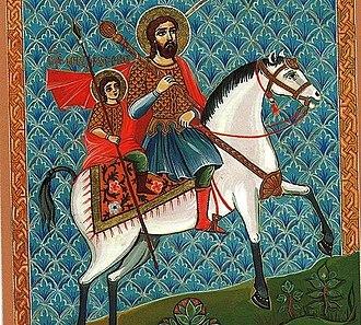 Saint Sarkis the Warrior - Saint Sarkis and his son, Saint Martiros, on horseback.