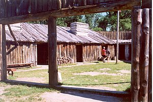 Fort Mandan - Interior yard of the replica of Fort Mandan, North Dakota