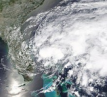 Satellite picture of a tropical depression that would later become Arthur on the coast of Florida on May 16.