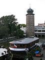 023 Hotel flotant Klotylda i torre Šítkovská, a l'illa Slovanský.jpg