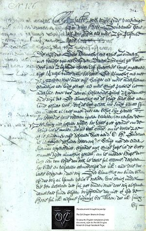 Vergulde Draeck - Letter, dated 7 May 1656, said to be of survivor