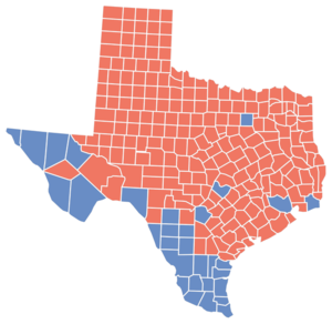 English: 2008 Texas Senate election results by...