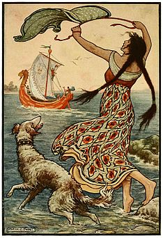 13 The black-browed maid stood upon the bank as the red ship ... sailed away from Novgorod - Russian Fairy Book 1916, illustrator Frank C Pape.jpg