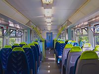 The refurbished interior of an Arriva Trains Wales Class 150