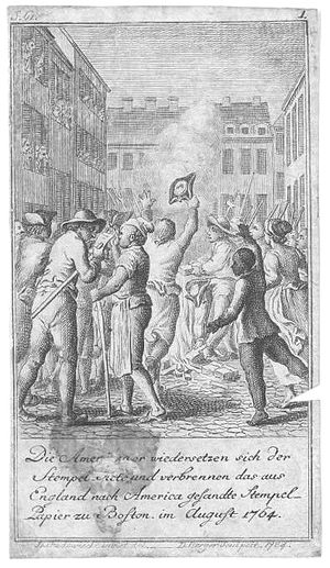 Timeline of Boston - Stamp Act riot, 1764