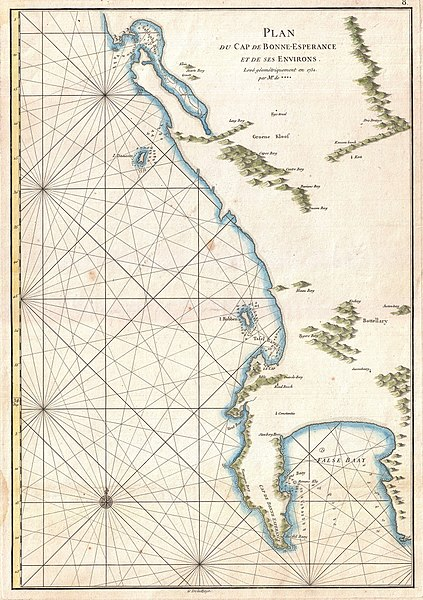 File:1775 Mannevillette Map of the Cape of Good Hope, South Africa ...