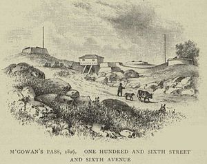 McGowan's Pass - Looking southwest in 1816. Pass gatehouse with fortifications on either side.