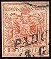 1854issue 15cent typeIIIc LV Padova Mi3Y.jpg