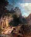 1868 Spitzweg Gebirgslandschaft mit Brücke und Burg anagoria.JPG