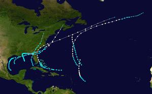 1885 Atlantic hurricane season - Image: 1885 Atlantic hurricane season summary map