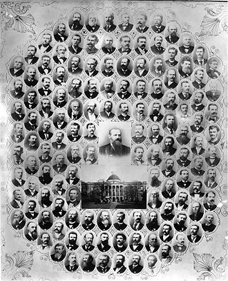 History of Mississippi - A poster showing the members of the 1890 Mississippian state constitutional convention. The members were overwhelmingly white Democrats; the only black member was a man who was allowed into the convention for his willingness to support black disenfranchisement.
