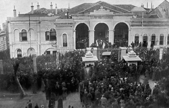 Sublime Porte - Crowd gathering in front of the Porte's buildings shortly after hearing about the Raid on the Sublime Porte (also known as the 1913 Ottoman coup d'état) inside.