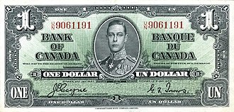 1937 Series (banknotes) - Image: 1937 1 bank of canada face