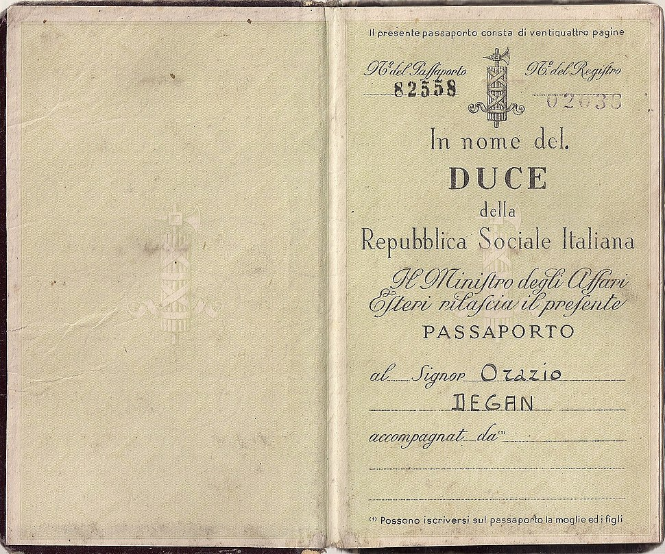 1945 RSI passport - consular issue from Berlin