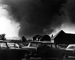 Tornado outbreak sequence of June 1966 - A photograph of the F5 Topeka, Kansas tornado.