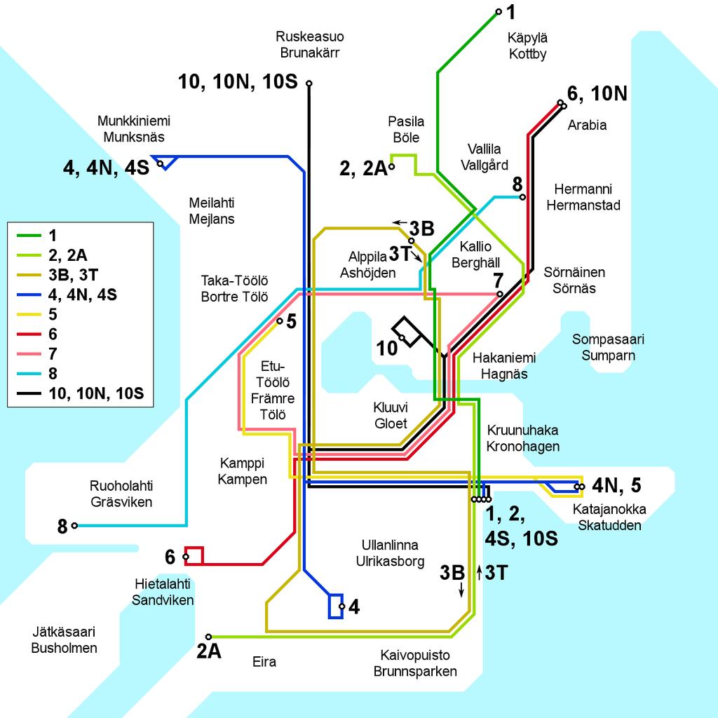 1976 Helsinki tram map