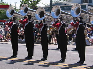 Members of the Brigadiers Drum & Bugle Corps (...