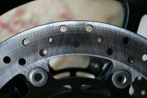 Disc brake - A drilled motorcycle brake disc